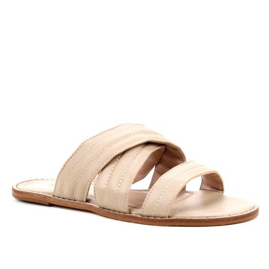 Rasteira Couro Shoestock Flat Soft - Cáqui