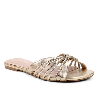 Rasteira Couro Shoestock Flat Tirinhas Metalilzada