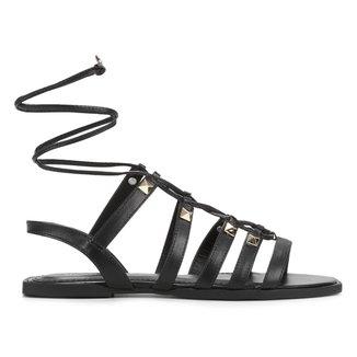 Rasteira Couro Shoestock Gladiadora Rebites