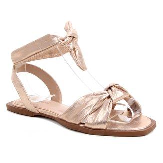 Rasteira Couro Shoestock Lace Up Cali Metalizada