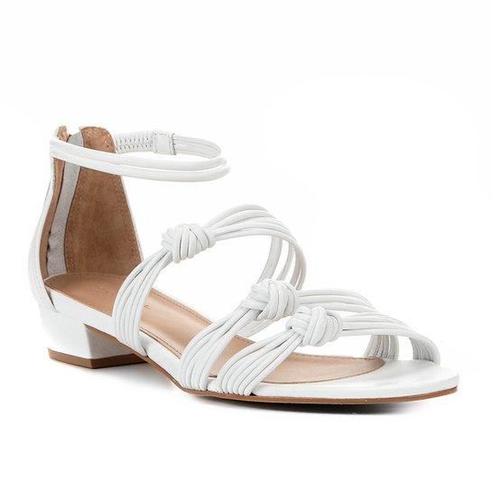 Rasteira Couro Shoestock Nó e Tiras  - Branco