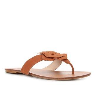Rasteira Couro Shoestock Nobuck Flores