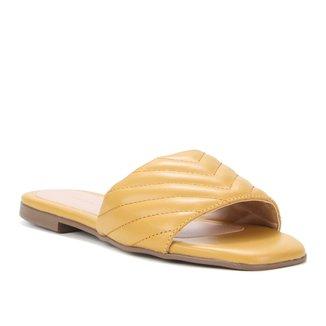 Rasteira Couro Shoestock Palmilha Quadrada Matelassê