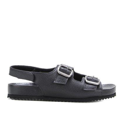 Rasteira Couro Shoestock Papete Fivelas