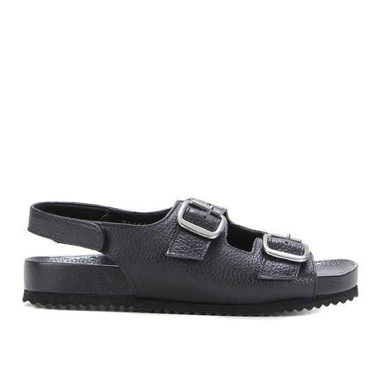 Rasteira Couro Shoestock Papete Fivelas - Preto