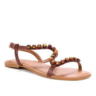Rasteira Couro Shoestock Pedraria