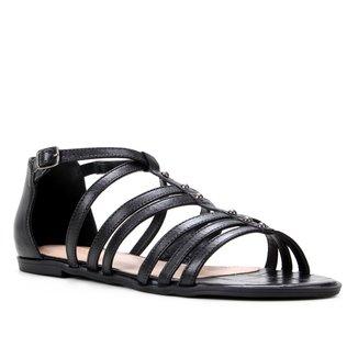Rasteira Couro Shoestock Rebites