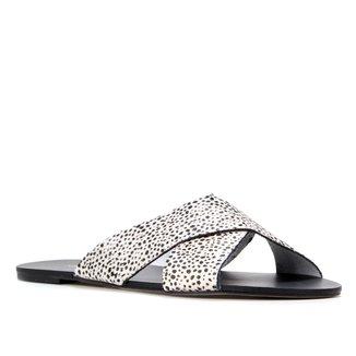Rasteira Couro Shoestock Slide Cheetah