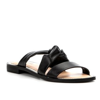 Rasteira Couro Shoestock Slide Drapeado
