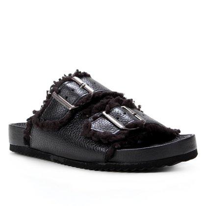Rasteira Couro Shoestock Slide Tira Dupla Pelúcia