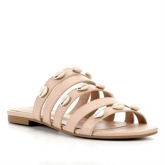 Rasteira Couro Shoestock Slide Tiras Búzios Feminina