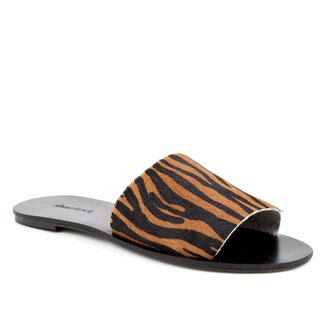 Rasteira Couro Shoestock Slide Zebra