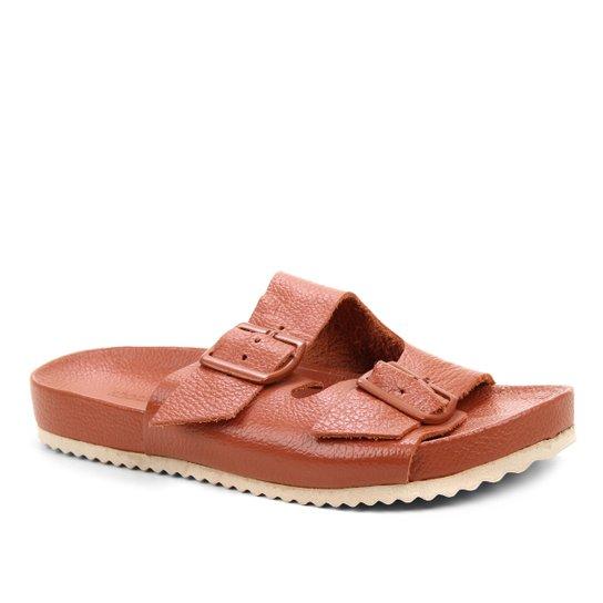 Rasteira Couro Shoestock Tiras Duplas Fivela - Marrom