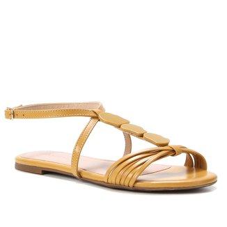 Rasteira Couro Shoestock Tiras Pedraria