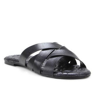 Rasteira Couro Shoestock Tiras Trançadas Bordado