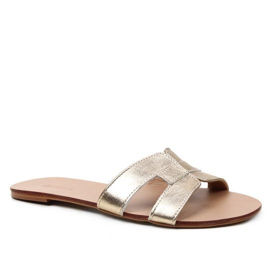 Rasteira Couro Shoestock Tiras - Ouro