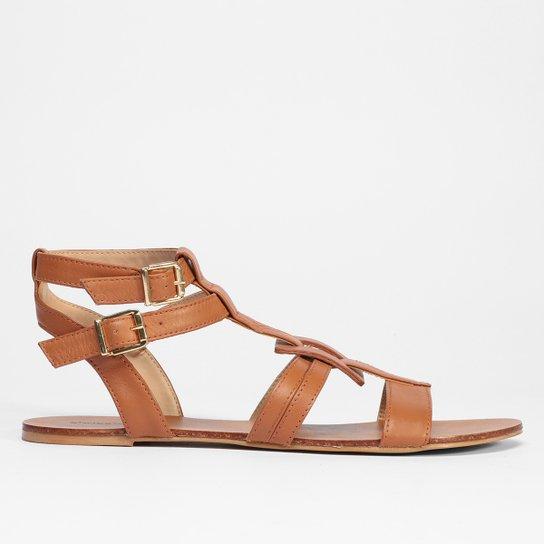 Rasteira Gladiadora Shoestock Couro Baixa - Marrom Claro