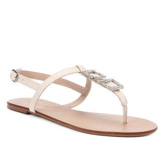 Rasteira Shoestock Couro Strass Cristal
