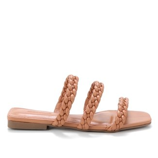 Rasteira Shoestock Couro Trança
