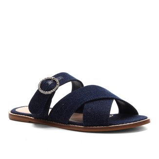 Rasteira Shoestock Jeans Strass