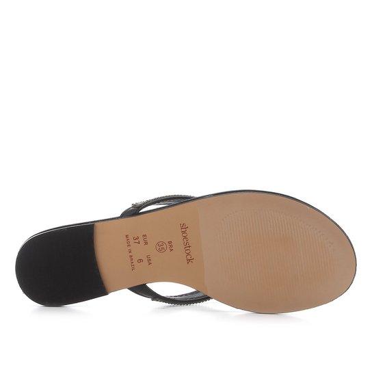 Rasteira Shoestock Malha Strass - Preto