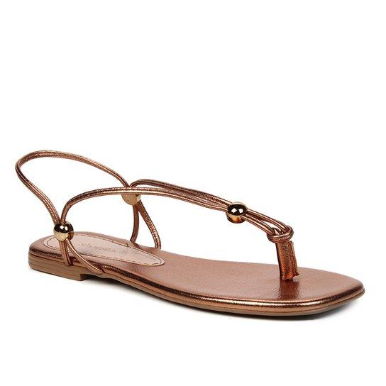 Rasteira Shoestock Metailzada Tiras - Bronze