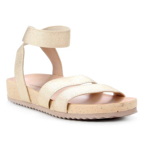 Rasteira Shoestock Papete Comfy Elástico - Dourado