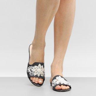 Rasteira Shoestock Slide Bordado Flores