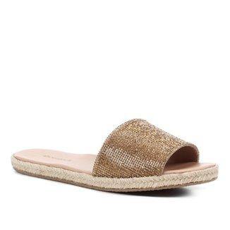 Rasteira Shoestock Slide Strass Corda
