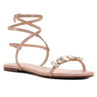 Rasteira Shoestock Tiras Pedra Cristal