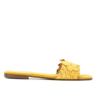 Rasteira Slide Shoestock Camurça Flores