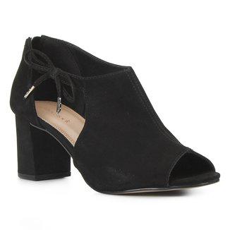 Sandal Boot Couro Shoestock Laço Salto Bloco Feminina