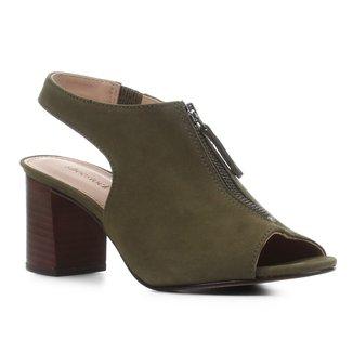Sandal Boot Couro Shoestock Nobuck Salto Bloco Feminina
