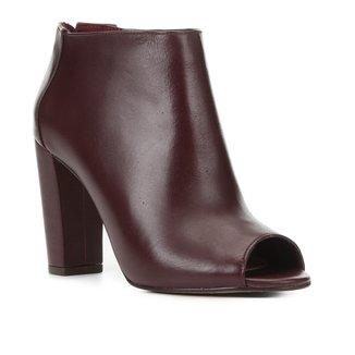 Sandal Boot Couro Shoestock Salto Alto Feminina