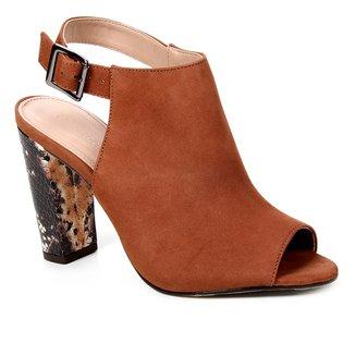 Sandal Boot Couro Shoestock Snake Salto Bloco Feminina