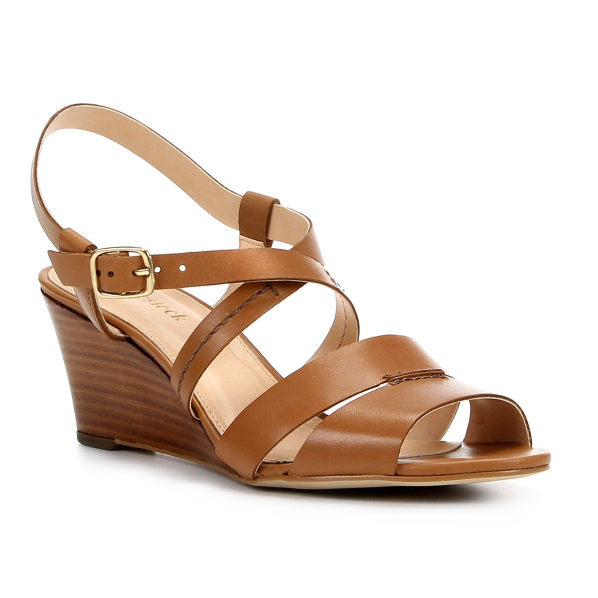 27b4e7181d Sandália Anabela Couro Shoestock Baixa Feminina | Shoestock