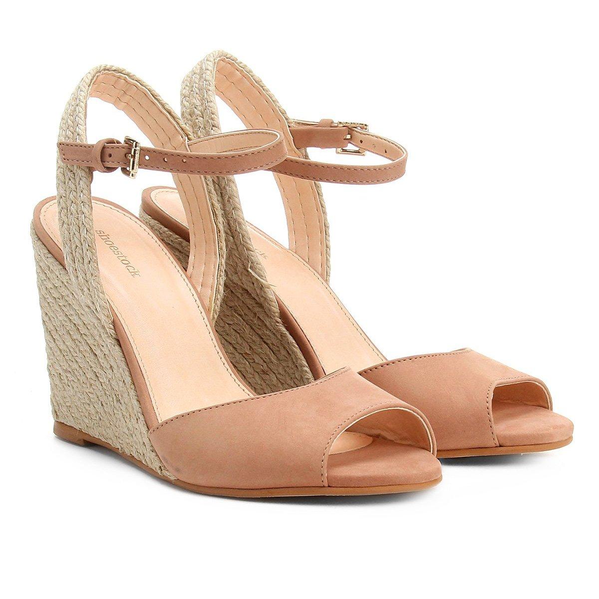 21581c6daf Sandália Anabela Couro Shoestock Corda Feminina   Shoestock