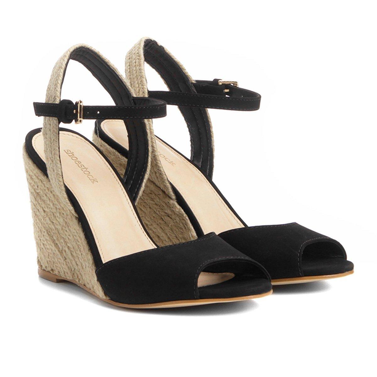 cd71f424a Sandália Anabela Couro Shoestock Corda Feminina - Preto - Compre Agora