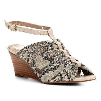 Sandália Anabela Couro Shoestock Drapeado