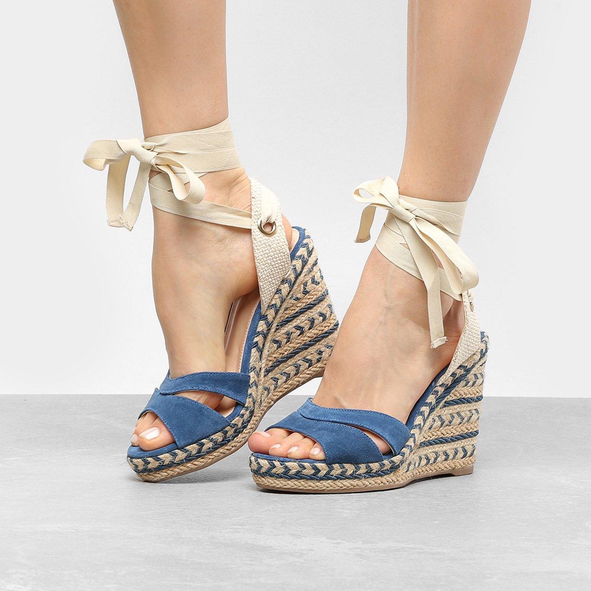 78e0875234 Sandália Anabela Couro Shoestock Espadrille Amarração Feminina - Compre  Agora
