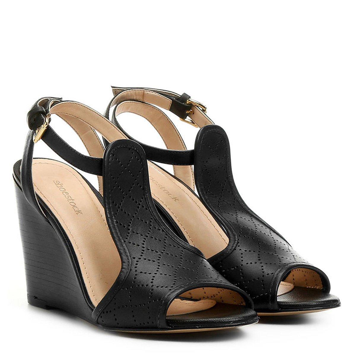 9ec19e79f7 Sandália Anabela Couro Shoestock Laser Feminina | Shoestock