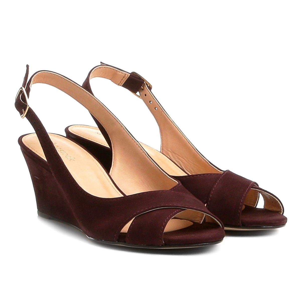 b43ffaf25 Sandália Anabela Couro Shoestock Nobuck Feminina - Vinho - Compre Agora