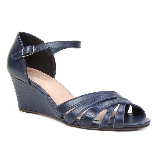 Sandália Anabela Couro Shoestock Tiras Cruzadas Feminina - Marinho