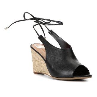 Sandália Anabela Shoestock Corda Couro Feminina