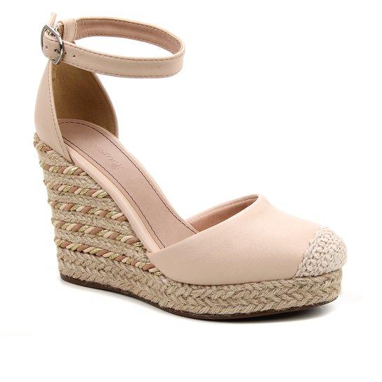Sandália Anabela Shoestock Corda Feminina - Bege