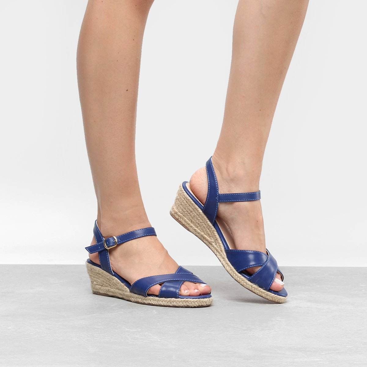 66aff46247 Sandália Anabela Shoestock Corda Feminina   Shoestock