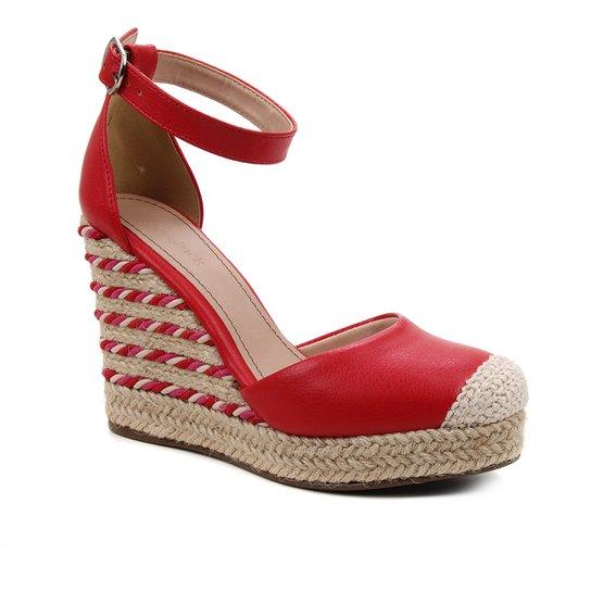 Sandália Anabela Shoestock Corda Feminina - Vermelho