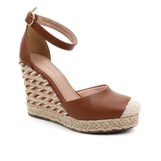 Sandália Anabela Shoestock Corda Feminina - Caramelo