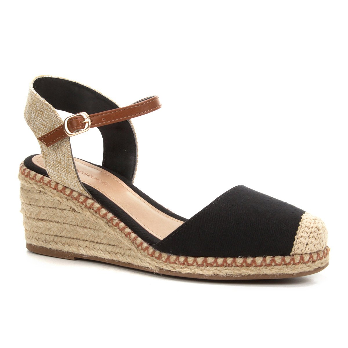 b9f32d70ed Sandália Anabela Shoestock Corda Lona Feminina - Preto - Compre Agora