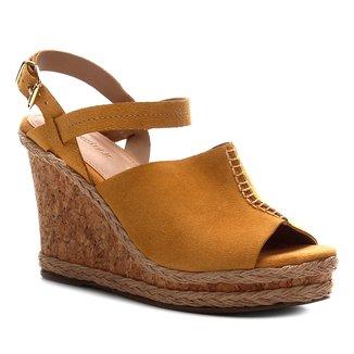 Sandália Anabela Shoestock Couro Cortiça Feminina